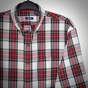 IZOD Heritage Tartan Red Plaid Shirt XL Flip Cuff